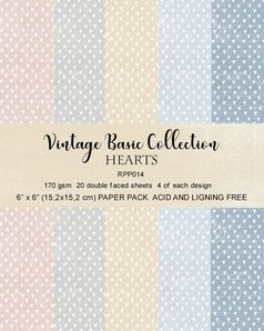 "Reprint Vintage Basics Collection Hearts 6""x6"" Paper Pack"